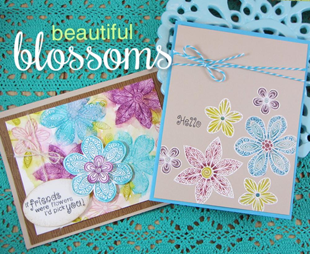 Friendship flower Cards | Beautiful Blossoms | 4x6 photopolymer Stamp Set | Newton's Nook Designs