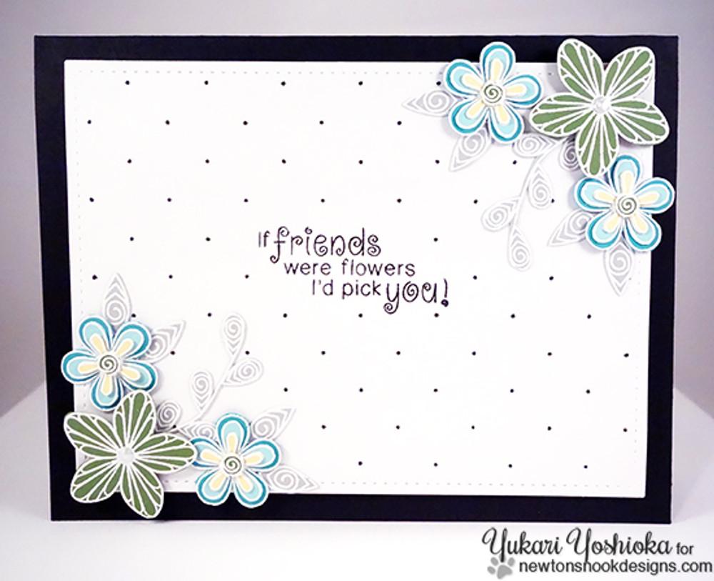 Friendship flower Card | Beautiful Blossoms | 4x6 photopolymer Stamp Set | Newton's Nook Designs