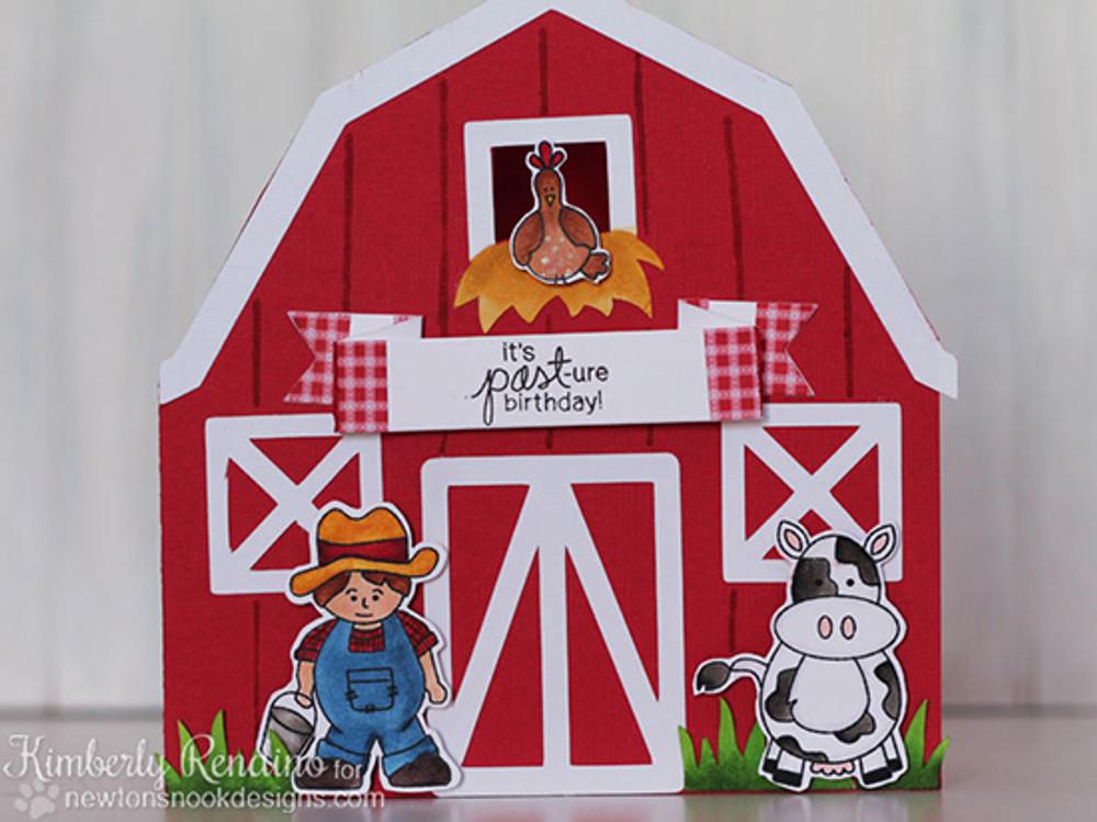 Farmyard Belated Birthday Card | Farmyard Friends | 4x6 photopolymer Stamp Set | Newton's Nook Designs