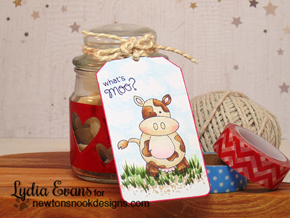 Whats Moo Cow Tag | Farmyard Friends | 4x6 photopolymer Stamp Set | Newton's Nook Designs