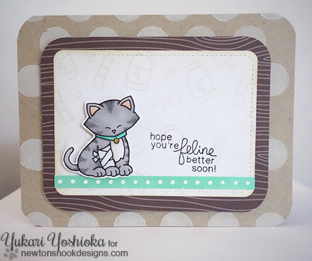 Get Well Cat Card   Newton's Sick Day   4x6 photopolymer Stamp Set   Newton's Nook Designs