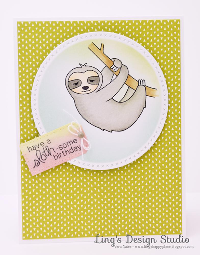 Sloth Birthday Card   In Slow Motion   4x6 Photopolymer Stamp Set   Newton's Nook Designs