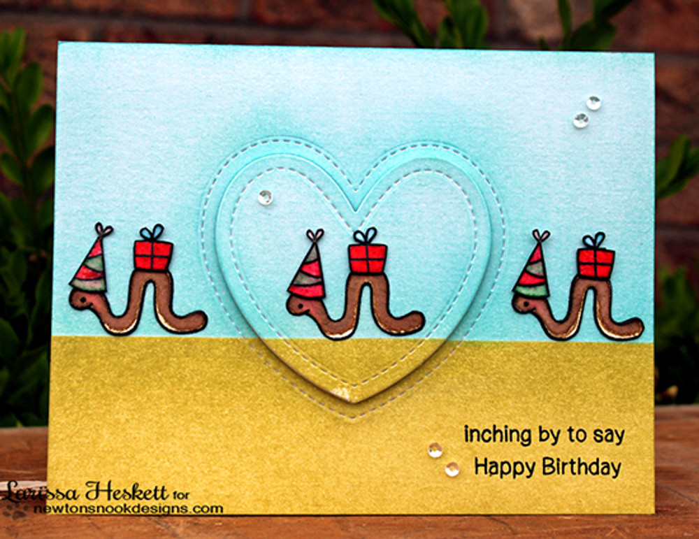 Inch Worm Birthday Card   In Slow Motion   4x6 Photopolymer Stamp Set   Newton's Nook Designs