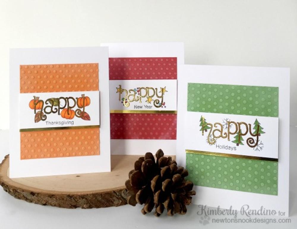 Happy Holidays Cards | Simply Seasonal | 4x6 Photopolymer Stamp Set | Newton's Nook Designs