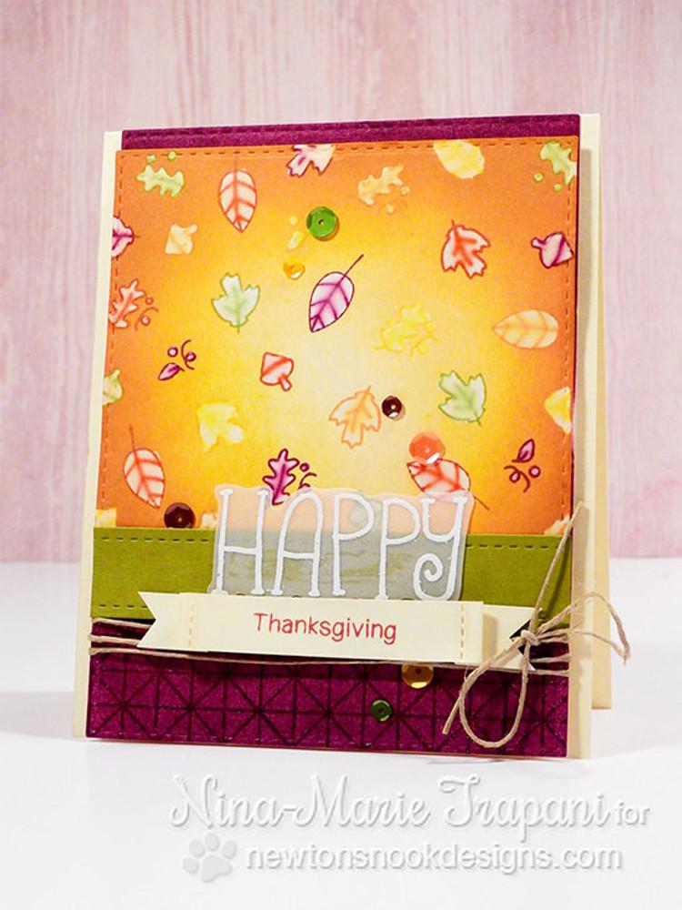 Happy Thankgiving Card | Simply Seasonal | 4x6 Photopolymer Stamp Set | Newton's Nook Designs