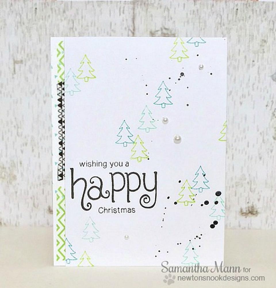 Happy Holidays Tree card | Simply Seasonal | 4x6 Photopolymer Stamp Set | Newton's Nook Designs