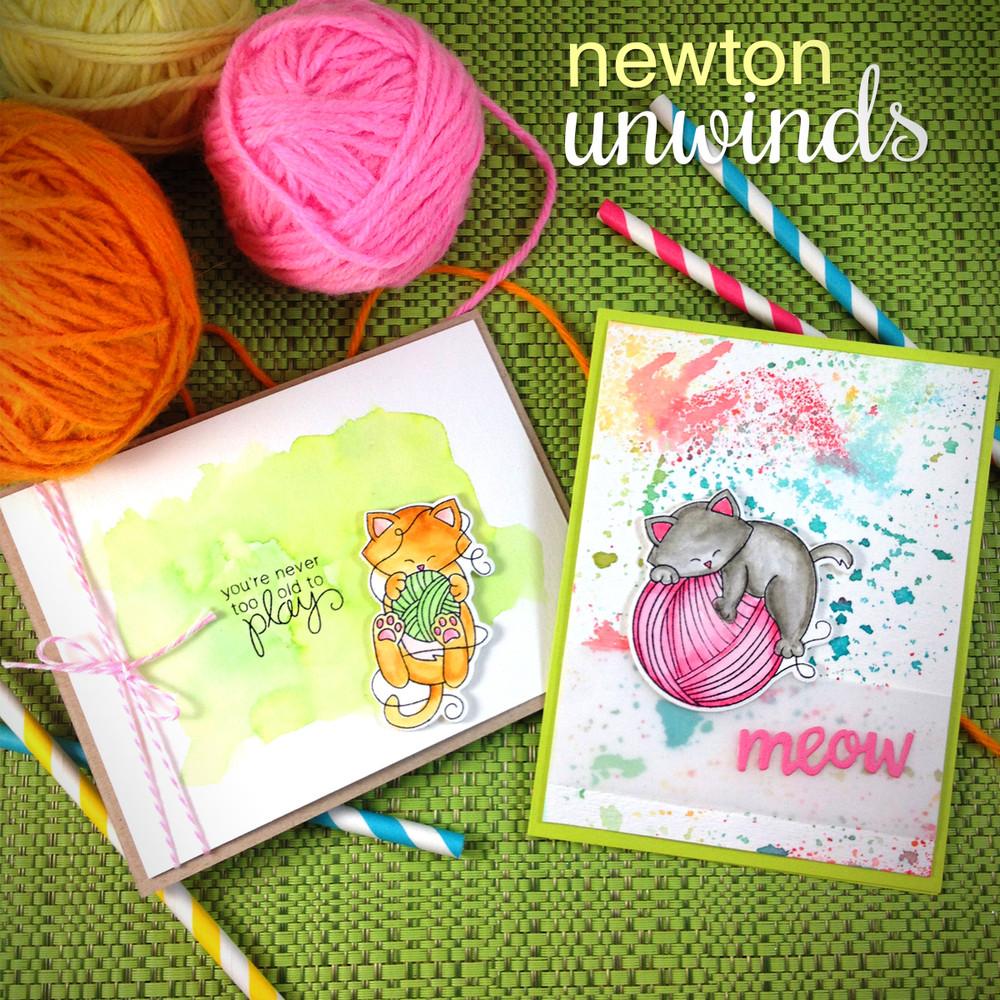 Newton Unwinds   4x6 Photopolymer Stamp Set   Newton's Nook Designs
