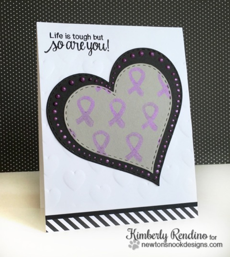 Purple Ribbon card using Newton's Support Stamp Set by Newton's Nook Designs