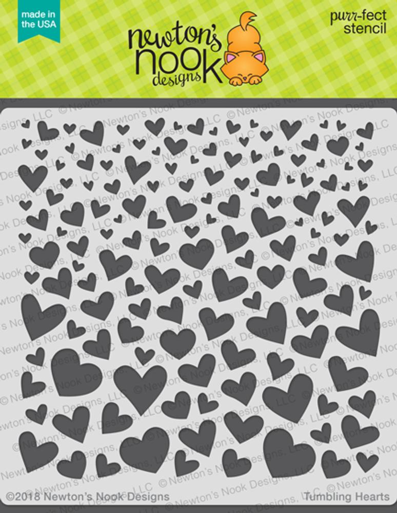 Tumbling Hearts Stencil ©2018 Newton's Nook Designs