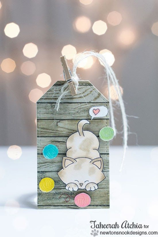 Cute Cat tag with Yarn Balls | Newton's Antics Stamp set by Newton's Nook Designs