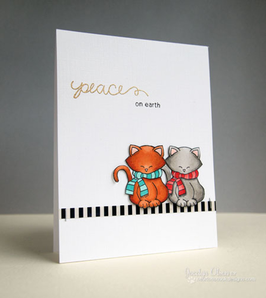Two Cats in Scarves Card  | Newton's Holiday Mischief Stamp Set by Newton's Nook Designs