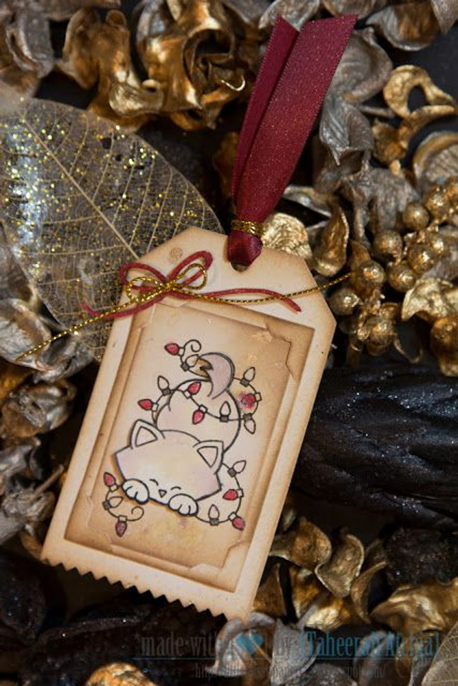 Kitty in Lights Holiday Tag | Newton's Holiday Mischief Stamp Set by Newton's Nook Designs
