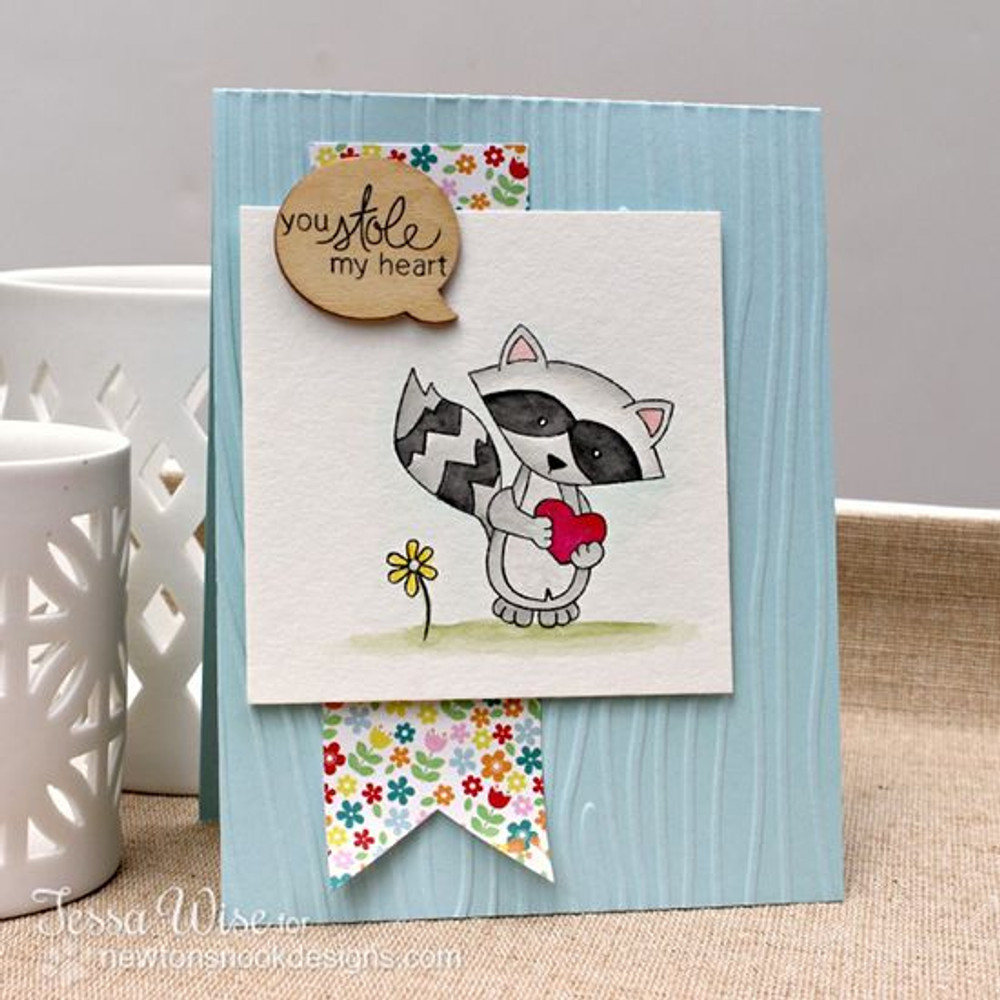 You stole my heart Raccoon Love Card   Sweetheart Tails Stamp Set by Newton's Nook Designs