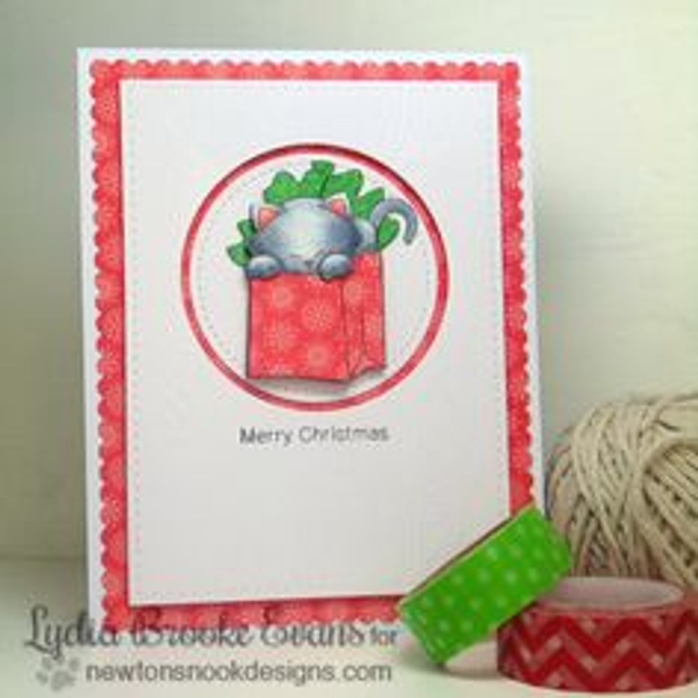 Cat Christmas card | Newton's Birthday Bash Cat stamp set by Newton's Nook Designs.