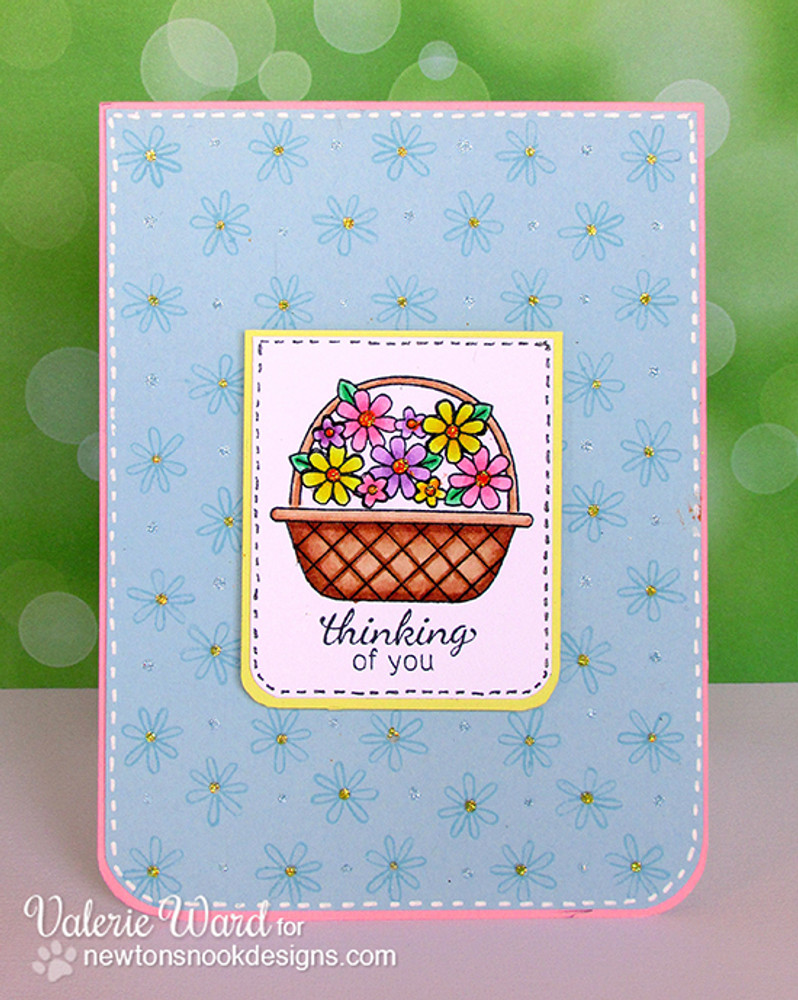 Thinking of you Card | Basket of Wishes stamp set by Newton's Nook Designs