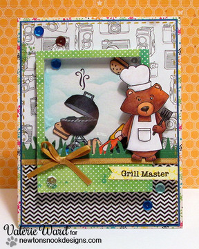 Winston's BBQ Father's Day Shaker Card | Winston's BBQ stamp set by Newton's Nook Designs