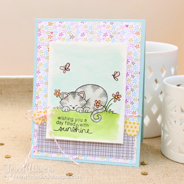 Summer cat card made with Newtons Day Dream stamp set from Newton's Nook Designs | 3x4 photopolymer Stamp Set | Newton's Nook Designs