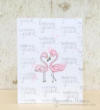 Tickled Pink Card | Flirty Flamingos | 3x4 photopolymer stamp set | Newton's Nook Designs