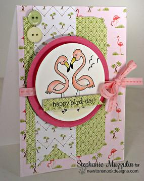 Flamingo couple Birthday card | Flirty Flamingos stamp set by Newton's Nook Designs