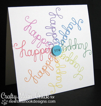 Happy card made with Simply Sentimental stamp set from Newton's Nook Designs | 4x6 photopolymer Stamp Set | Newton's Nook Designs