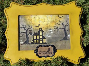 Halloween Frame Home Decor | Spooky Street Stamp Set ©2014 Newton's Nook Designs