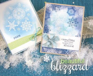 Snowflake Winter Cards | Winter Tails | 4x6 photopolymer Stamp Set | Newton's Nook Designs