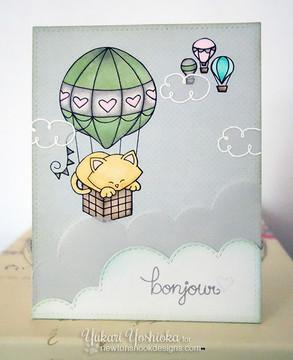 Cat in Hot Air Balloon Card  Newton Dreams of Paris   4x6 photopolymer Stamp Set   Newton's Nook Designs