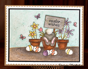 Bunny Butt Easter Card | Bunny Hop | 3x4 photopolymer Stamp Set | Newton's Nook Designs