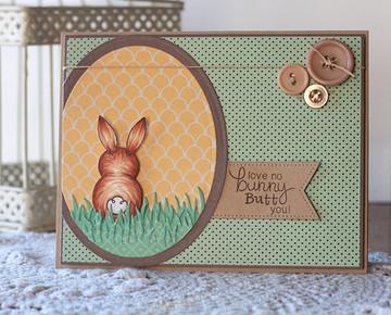 Bunny Love Card | Bunny Hop | 3x4 photopolymer Stamp Set | Newton's Nook Designs