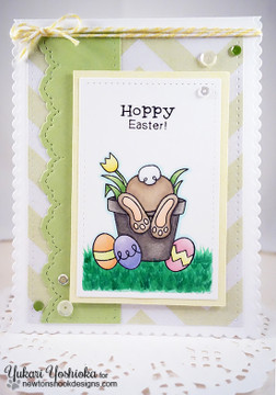 Bunny Easter Card | Bunny Hop | 3x4 photopolymer Stamp Set | Newton's Nook Designs