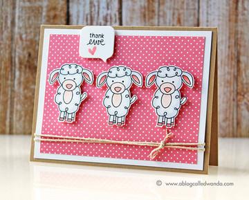 Thank you Sheep Card | Farmyard Friends | 4x6 photopolymer Stamp Set | Newton's Nook Designs