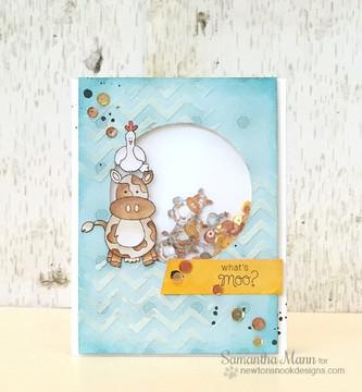 Friendship Cow Card | Farmyard Friends | 4x6 photopolymer Stamp Set | Newton's Nook Designs