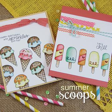 Ice Cream Friendship/Birthday Cards | Summer Scoops Stamp Set by Newton's Nook Designs