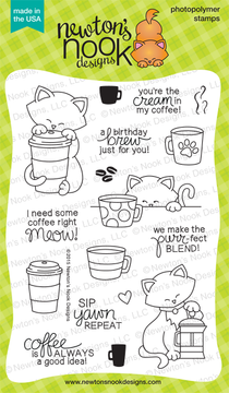 Newton Loves Coffee | 4x6 Photopolymer Stamp Set | Newton's Nook Designs