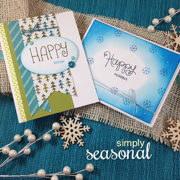 Happy Winter Cards | Simply Seasonal | 4x6 Photopolymer Stamp Set | Newton's Nook Designs