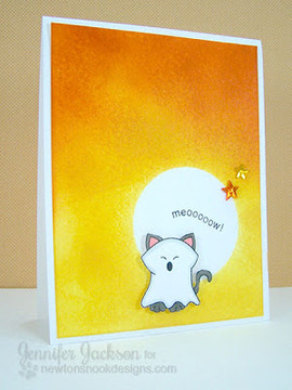 Ghost Cat with Halloween Sky Card |  Boo Crew Stamp Set by Newton's Nook Designs