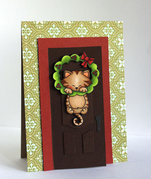 Kitty and wreath card | Newton's Holiday Mischief Stamp Set by Newton's Nook Designs