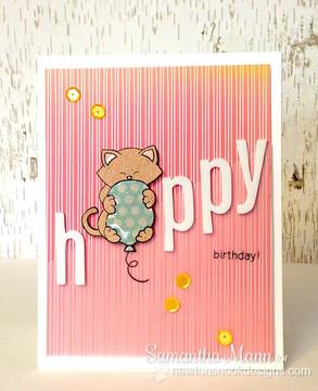 Cat Birthday card | Newton's Birthday Bash Cat stamp set by Newton's Nook Designs.