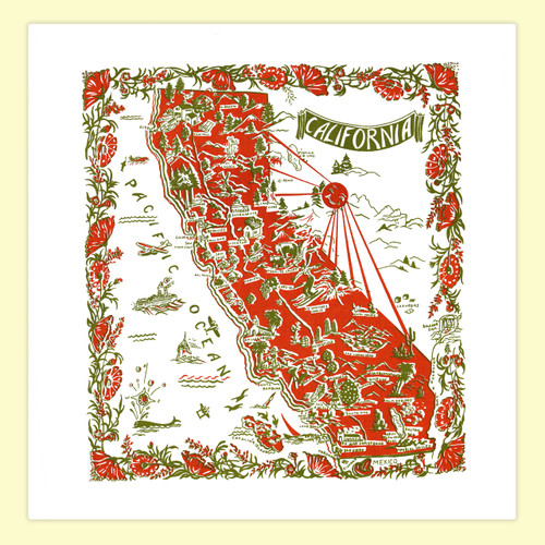 California, Red,  Map Towel