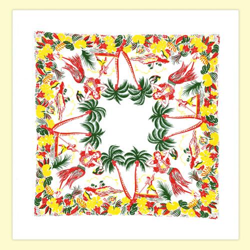 Lovely Oahu  Map Towel