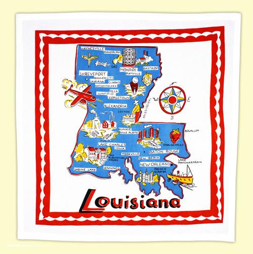 Louisiana Map Towel