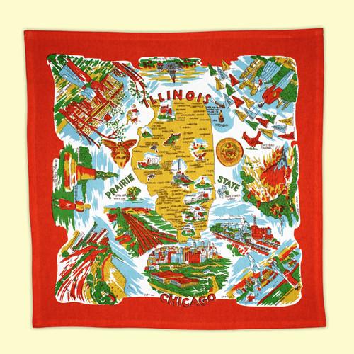 Illinois Map Towel