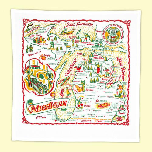 Michigan Map Towel