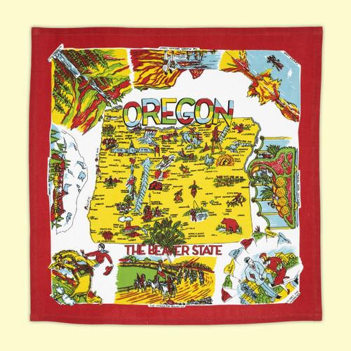 Oregon, Red, Map Towel