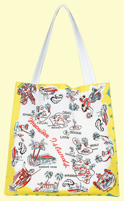 Aloha Hawaii Map Tote, Medium