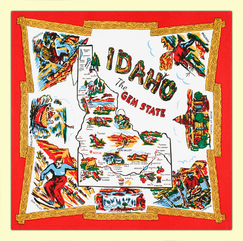 Idaho Map Flour Sack Towel