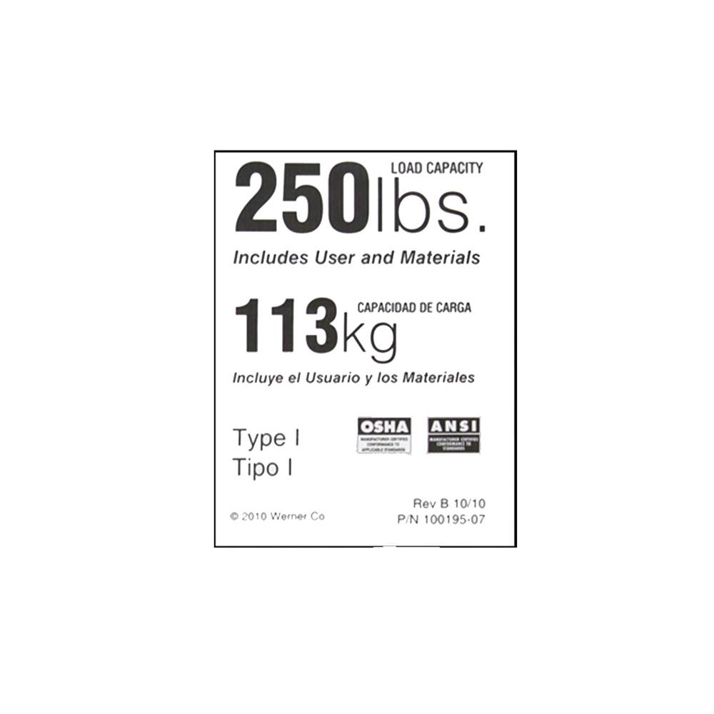 Werner Ldr250 Duty Rating Label 250 Lb Industrial Ladder