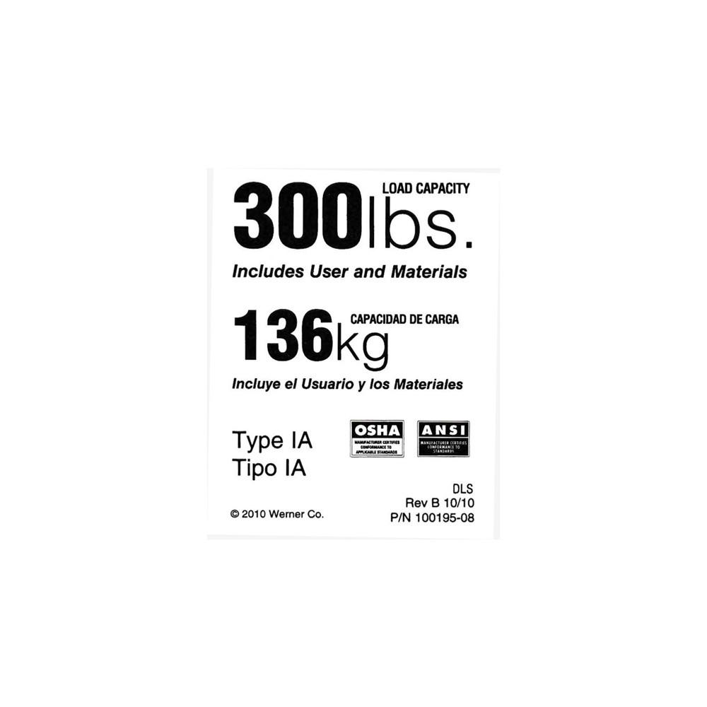 Werner Ldr300 Duty Rating Label 300 Lb Industrial Ladder