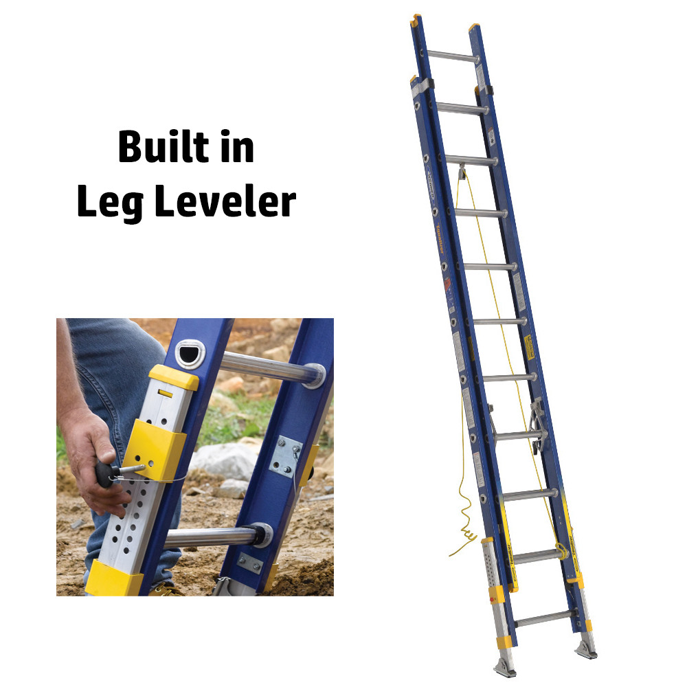 Werner D8200-2EQ Series Equalizer Fiberglass Extension Ladder 300 lb Rated