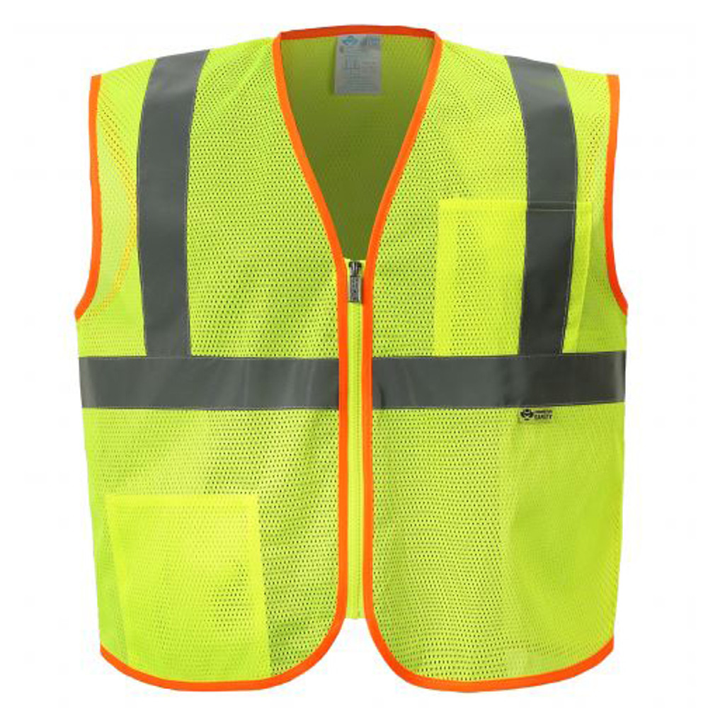 2W International - MZ529 – Lime Mesh Zipper Front Economt ANSI Class 2 Safety Vest